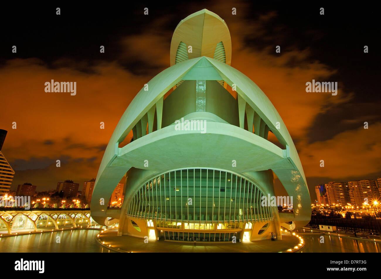 Palais des Arts Reina Sofia, par S. Calatrava. Cité des Arts et des Sciences. Rhône Alpes, Valence. Espagne Photo Stock