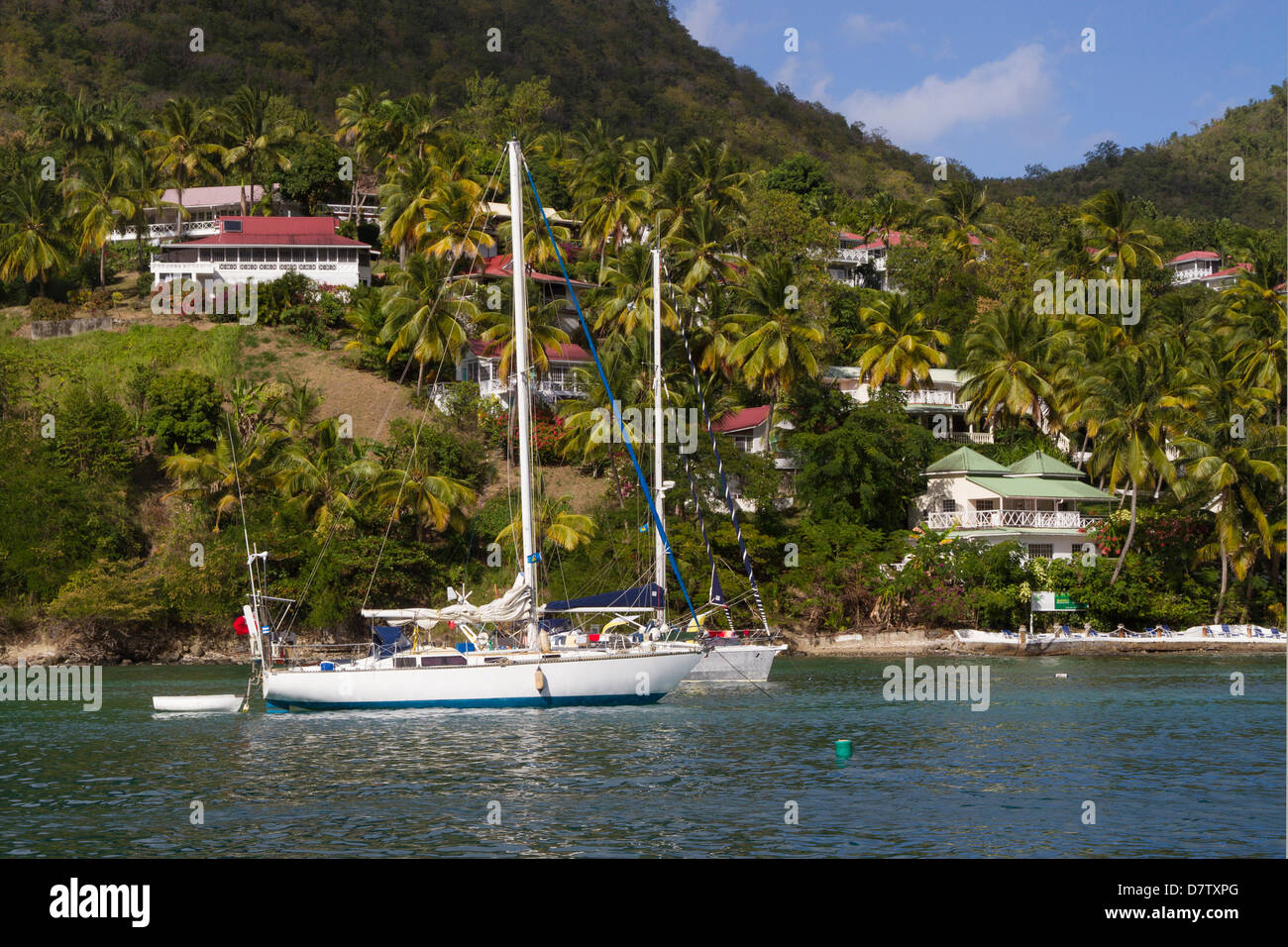 Marigot Bay, Sainte-Lucie, îles du Vent, Antilles, Caraïbes Photo Stock