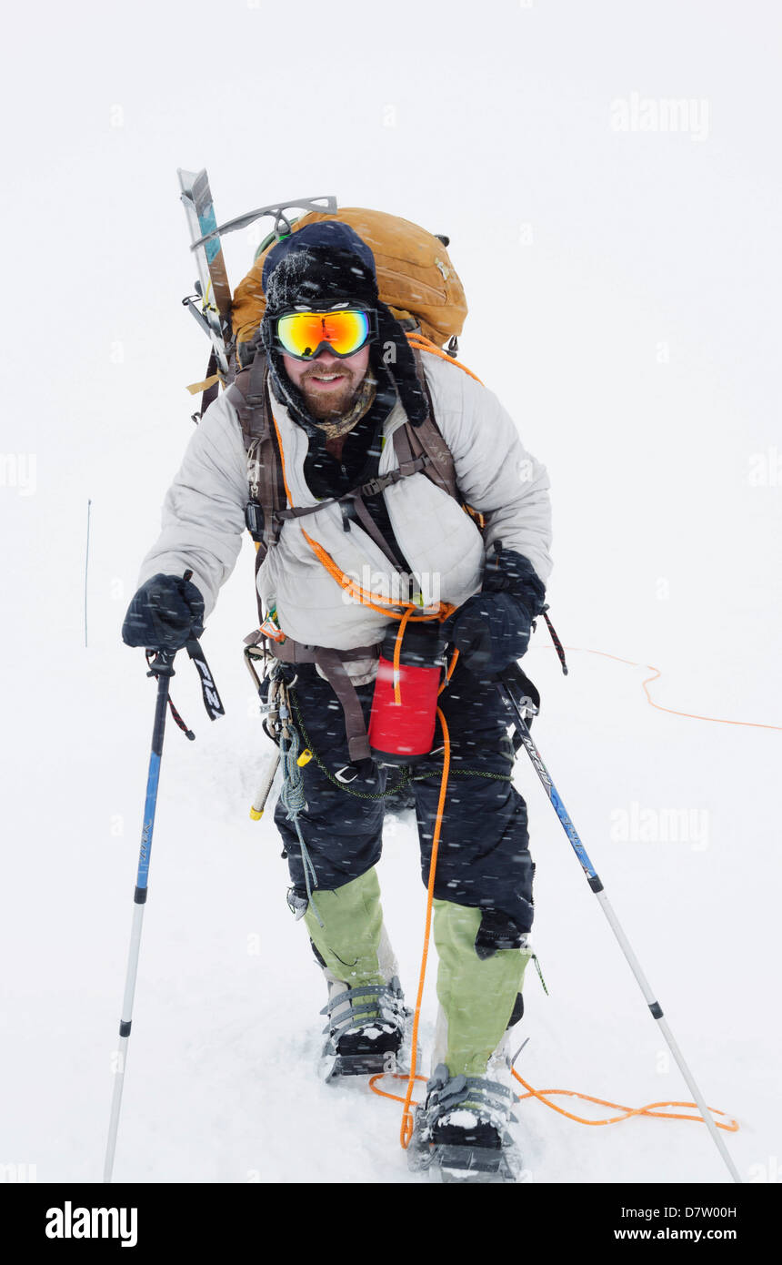 Alpinisme - expédition sur le mont McKinley, 6194m, le parc national Denali, Alaska, USA Photo Stock