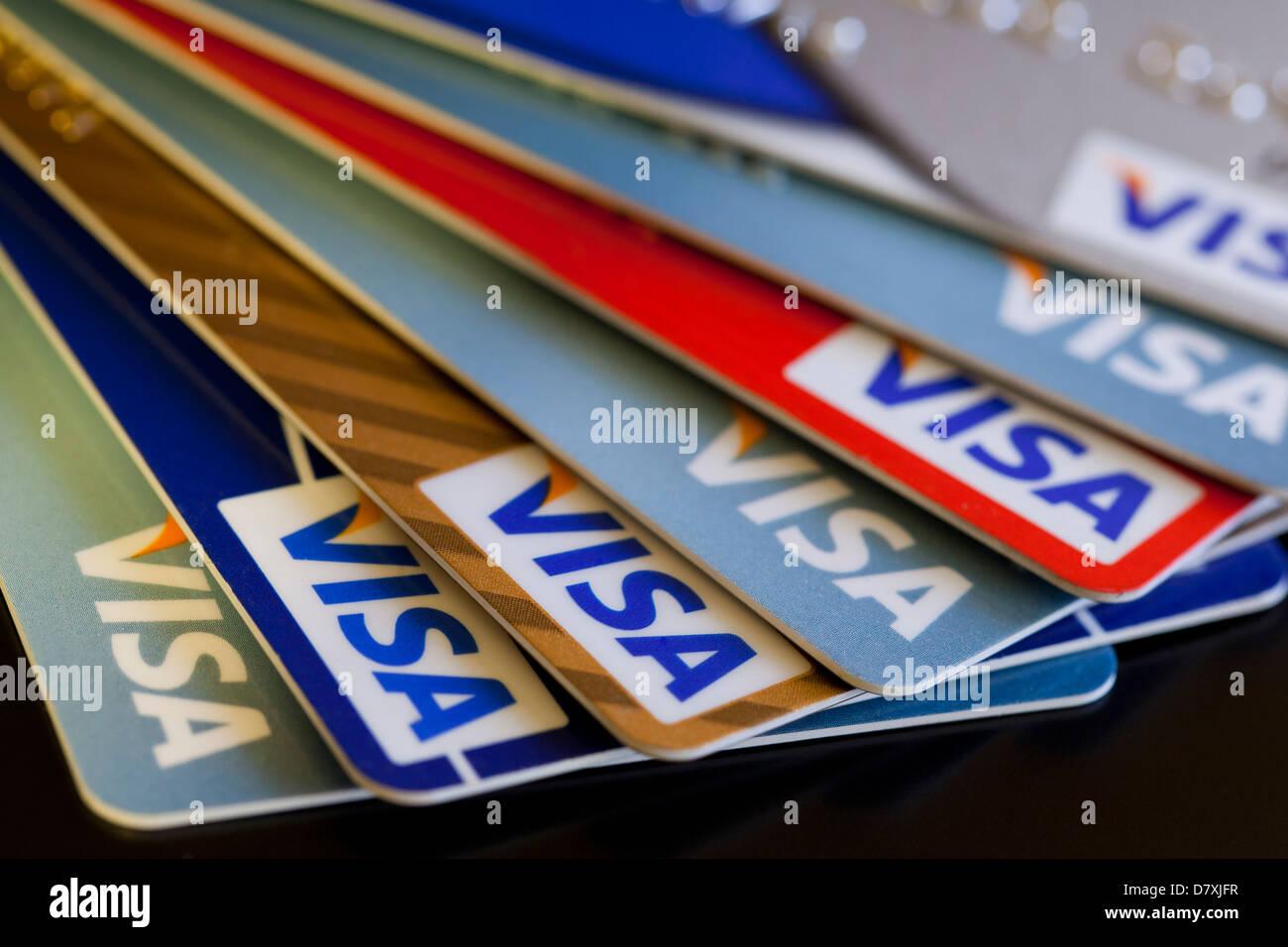 Cartes de crédit Visa Photo Stock