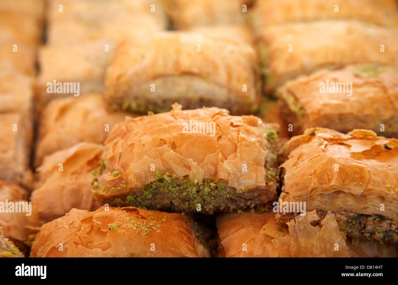 Baklava pâtisseries sur un plateau Photo Stock