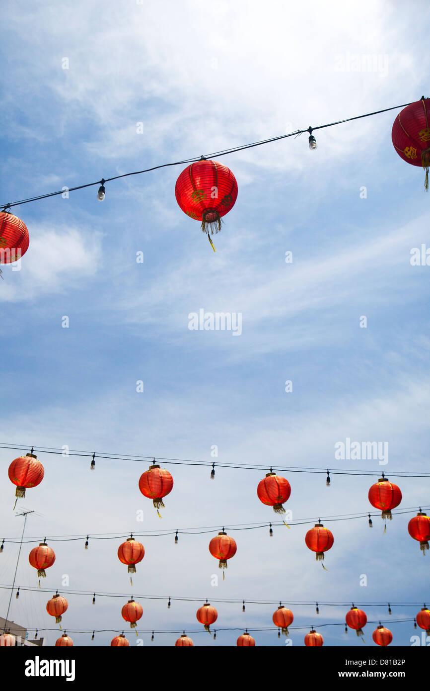 Lanternes chinoises dans le quartier chinois de Los Angeles, Californie Photo Stock
