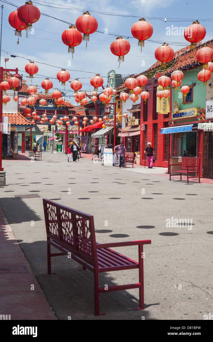 Lanternes chinoises dans Chinatown Los Angeles Photo Stock