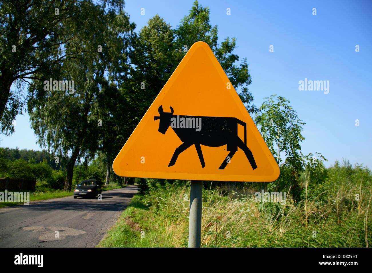 Trafic signe, District du Lac de Mazurie, Pologne Photo Stock