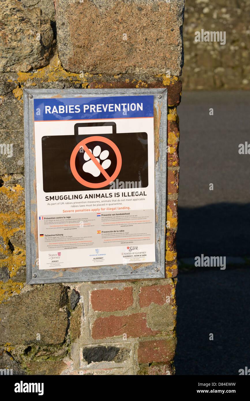 Signe de prévention de la rage à St Peter Port, Guernsey Harbour Photo Stock