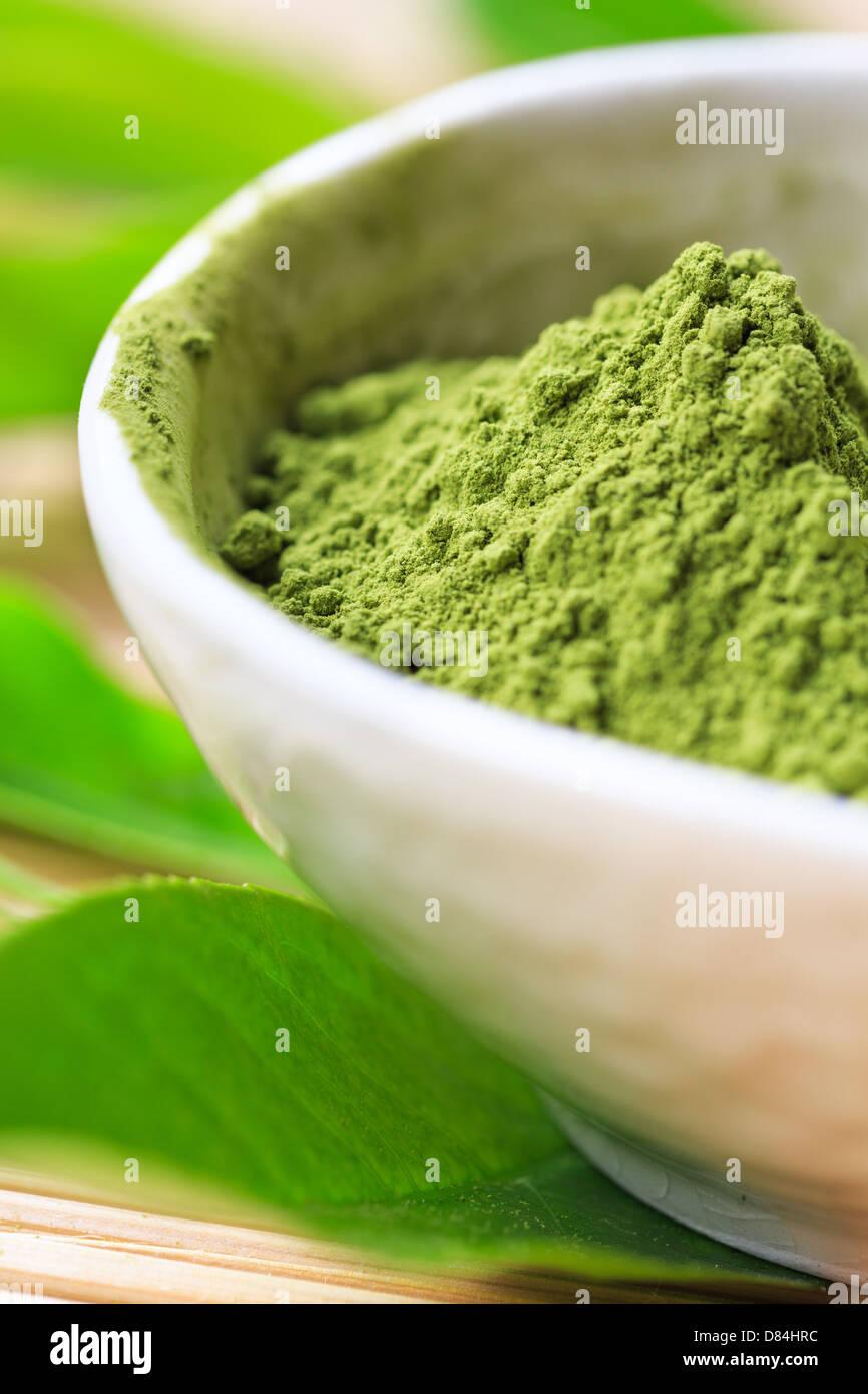 La poudre de thé Matcha Photo Stock