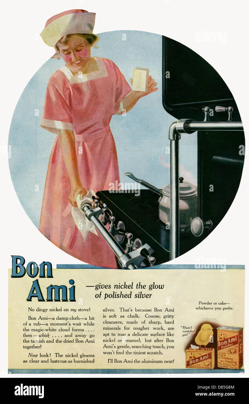 Annonce du Bon Ami pour nettoyer le métal en poudre Photo Stock