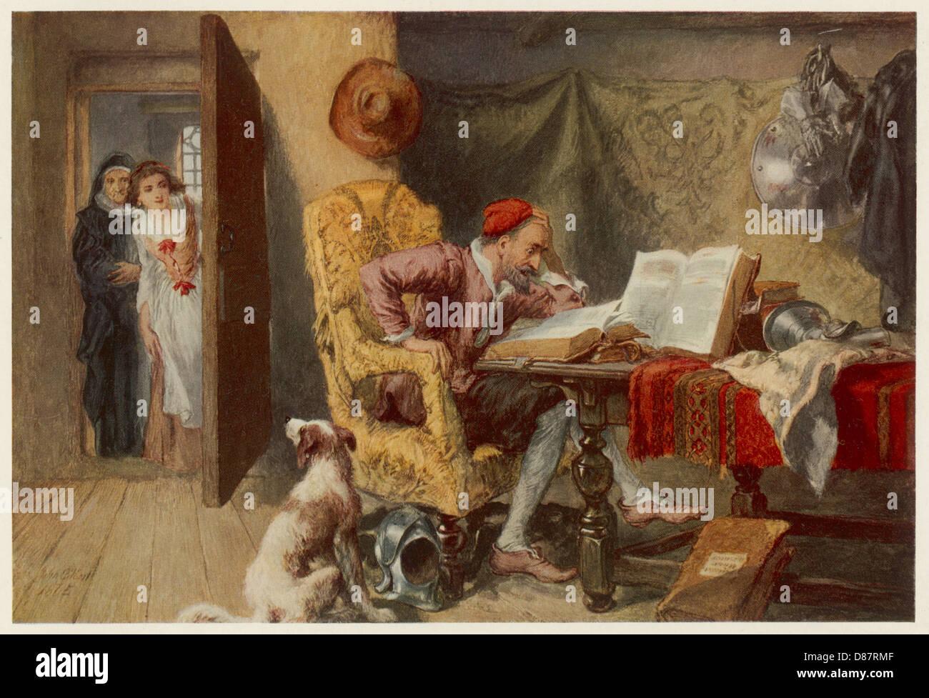 Quichotte dans son étude Photo Stock