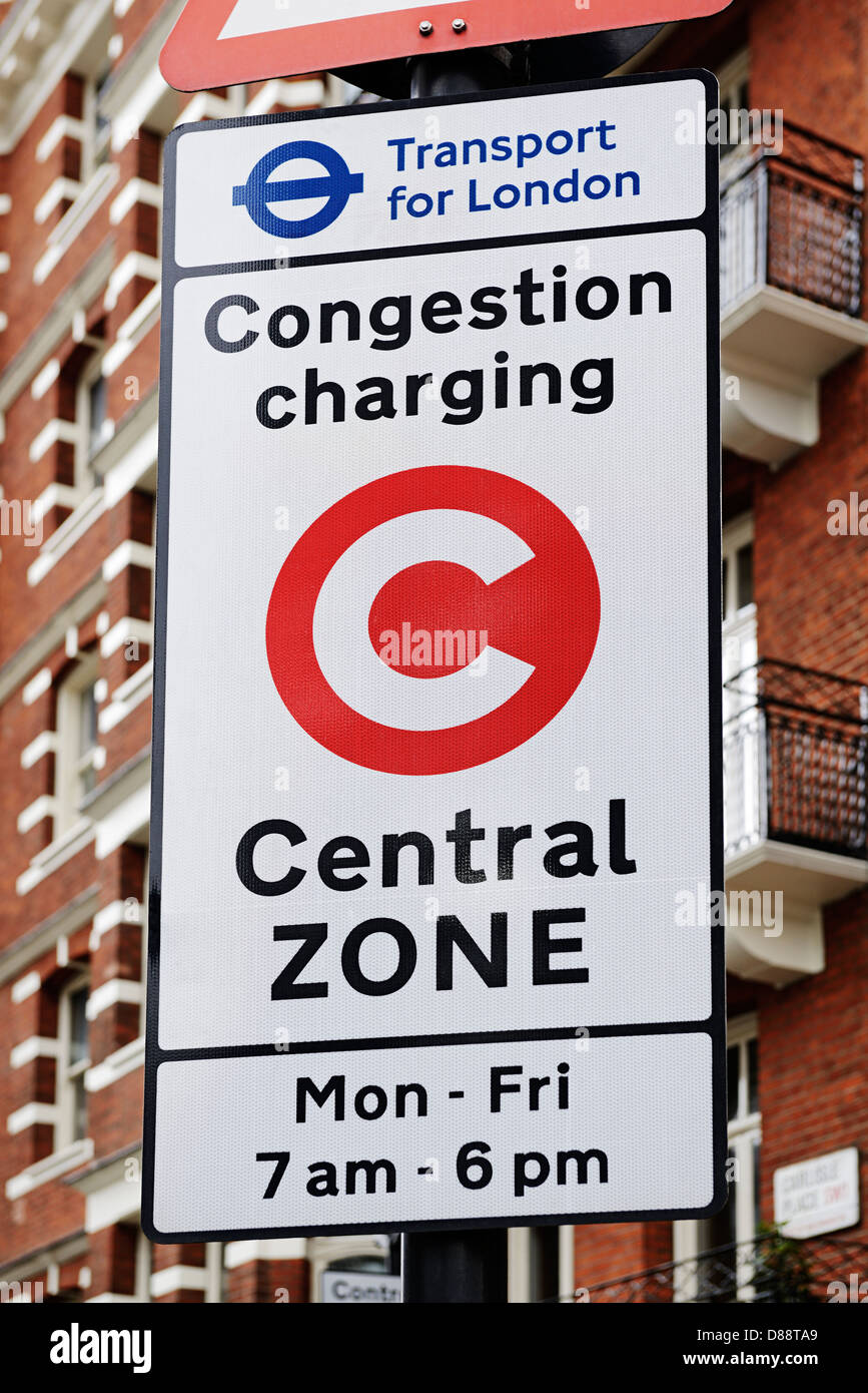 Signe de la zone de péage urbain de Londres, Royaume-Uni. Photo Stock