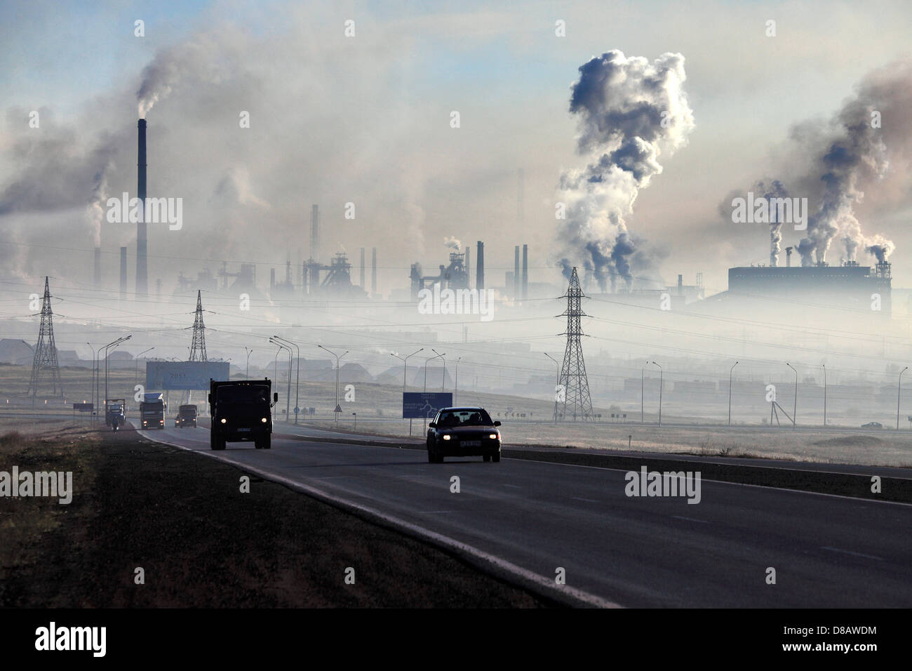 Karaganda - pollution de l'acier par-works ( Arselor Mittal Temirtau ) Photo Stock