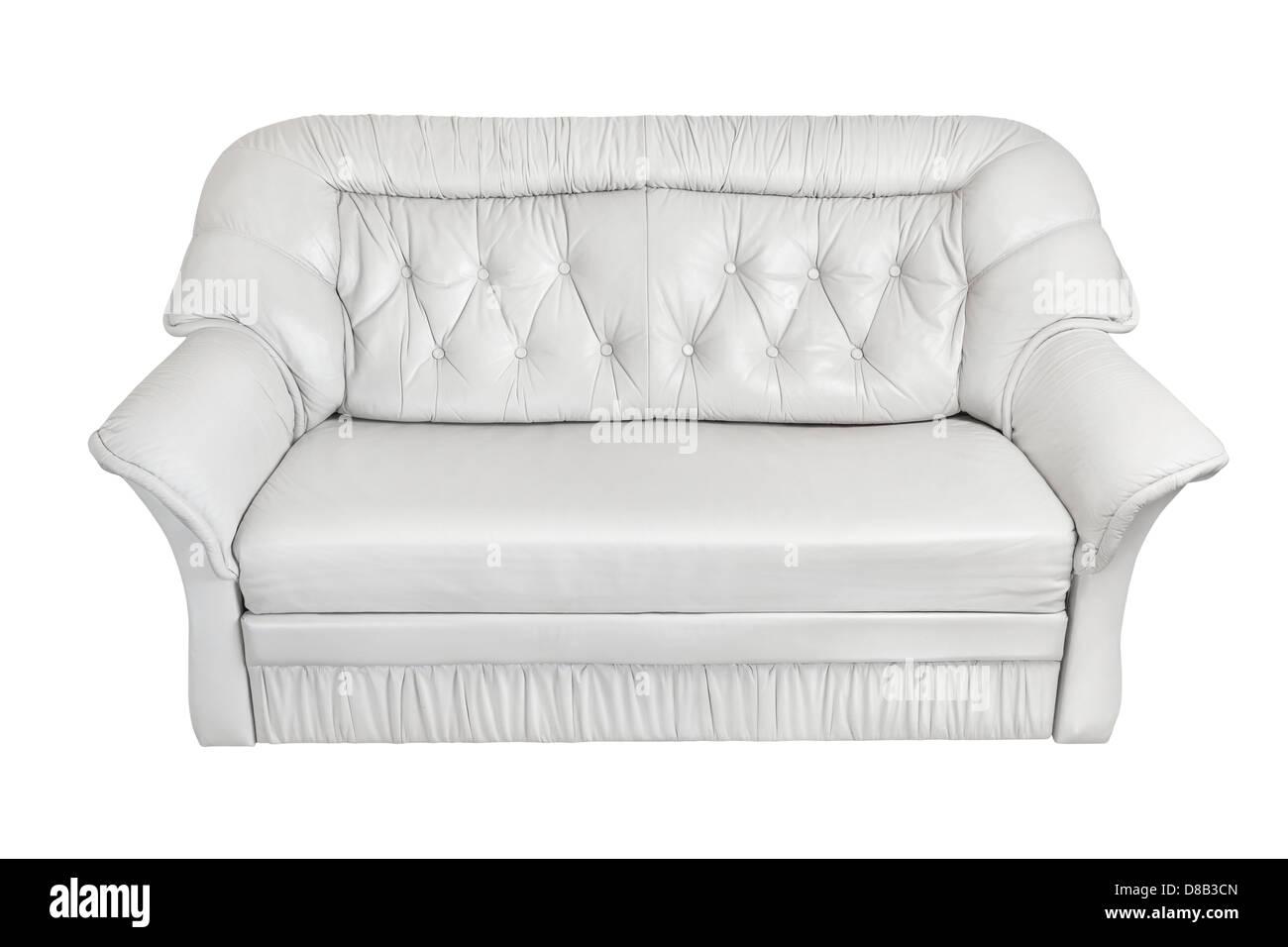 Canapé cuir blanc sur fond blanc Photo Stock