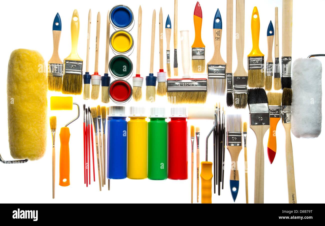 Différents Types De Pinceaux, De Couleurs, Du0027outils De Peinture.