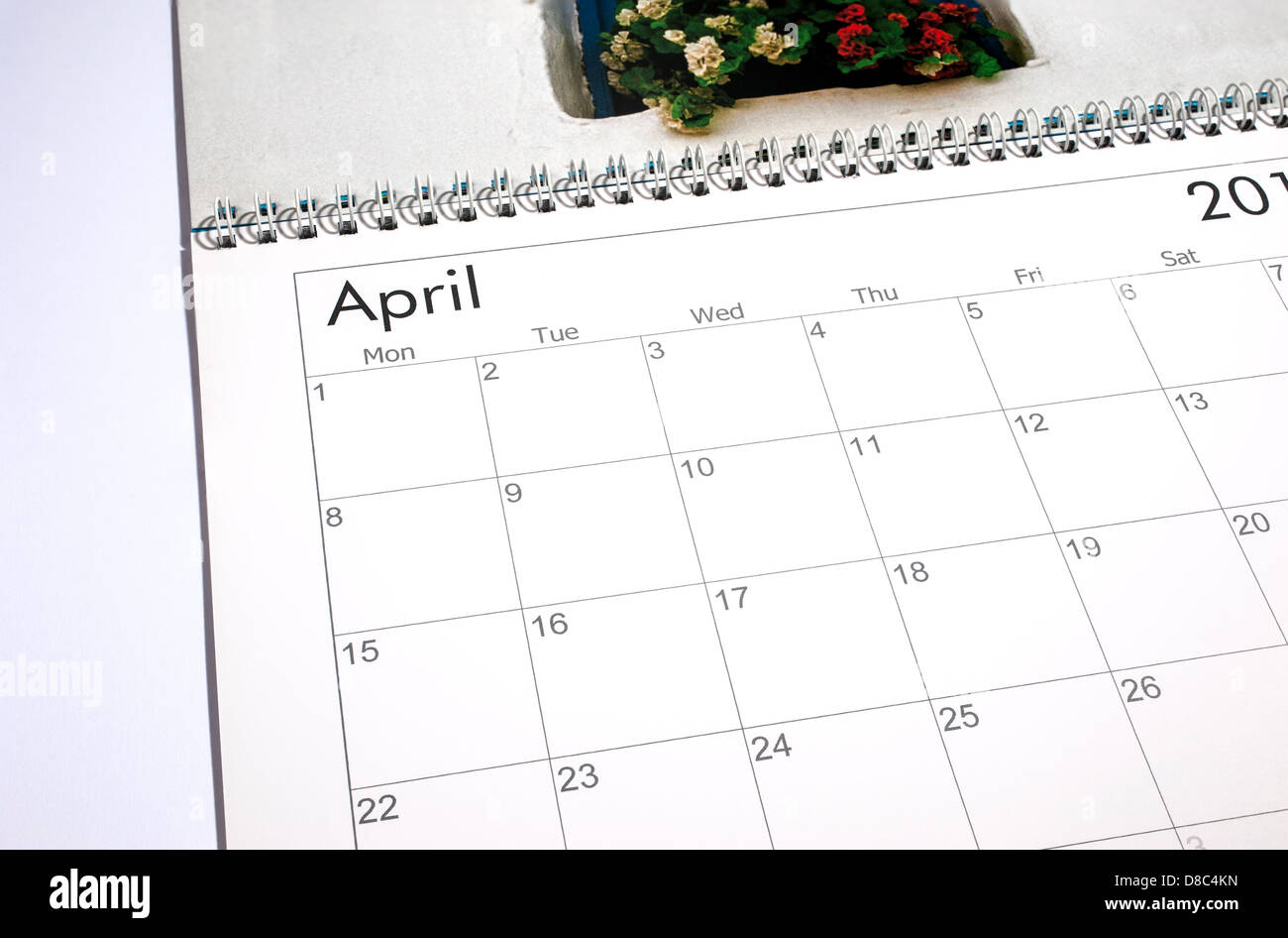 Calendrier vide page - Avril 2013 Photo Stock