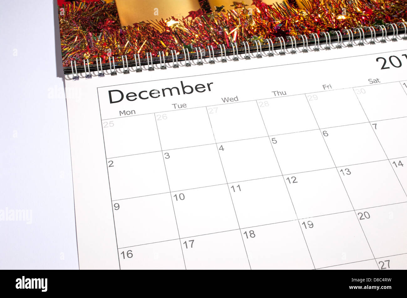 Blank page calendrier - Décembre 2013 Photo Stock