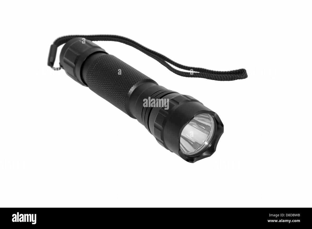 Lampe, isolé, blanc, noir, flash, lampe torche, la puissance, l'outil, lumineux, l'équipement, Photo Stock