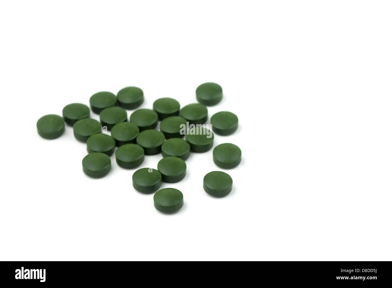 Comprimés d'algues chlorelles Banque D'Images