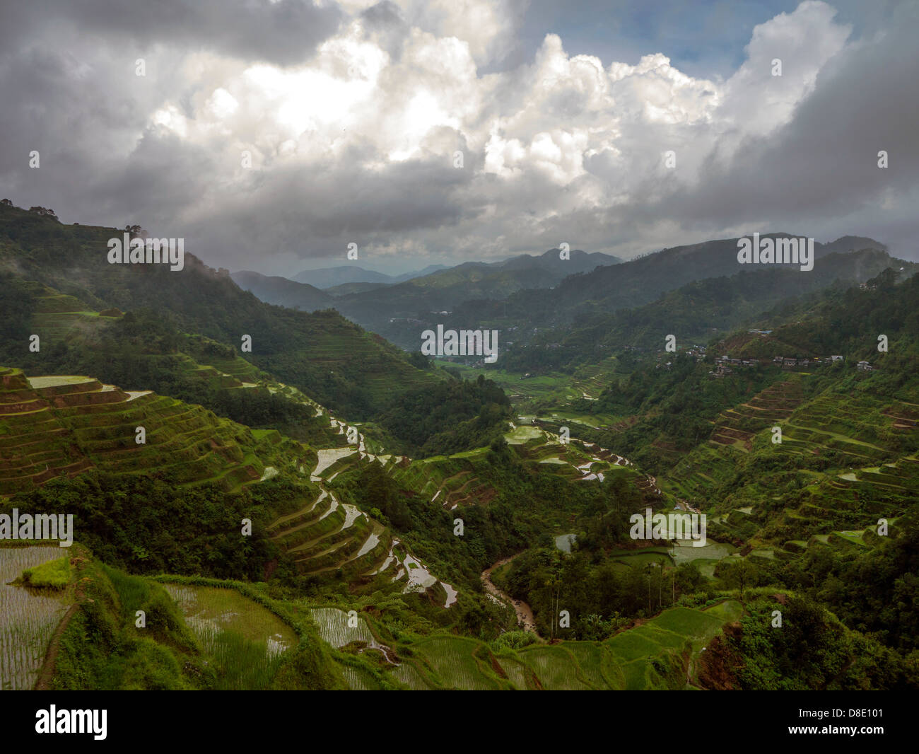 Les terrasses de riz de Banaue nuageux et loin de la ville. Banque D'Images