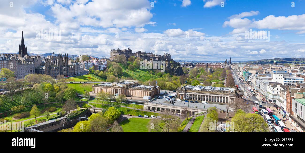 Vue sur Princes Street Centre-ville d'Édimbourg Edinburgh Scotland Midlothian UK GB EU Europe Photo Stock