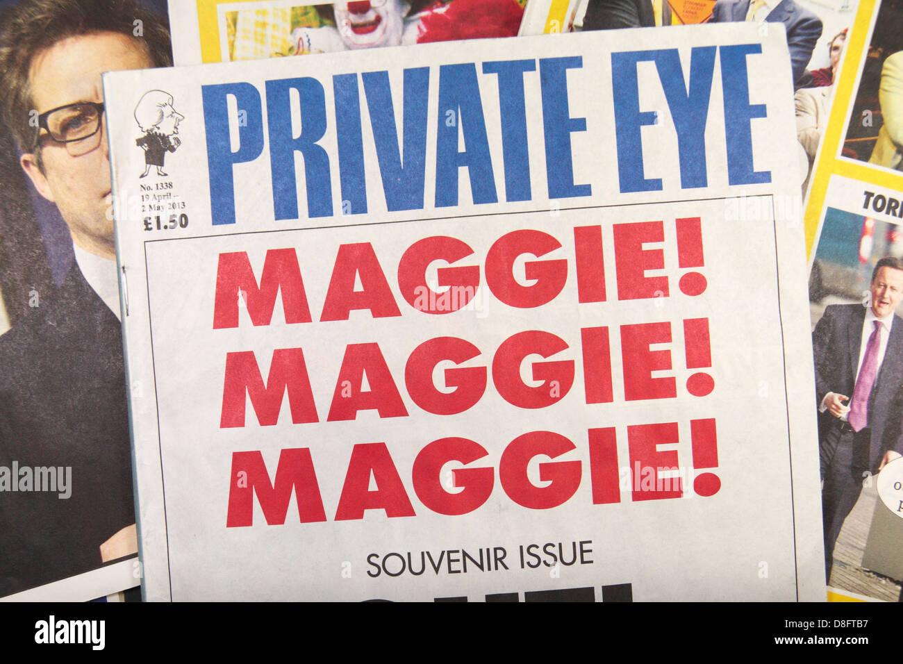 La première page de la Private Eye magazine satirique à la suite du décès de Margaret Thatcher (19 avril - 2 mai Banque D'Images
