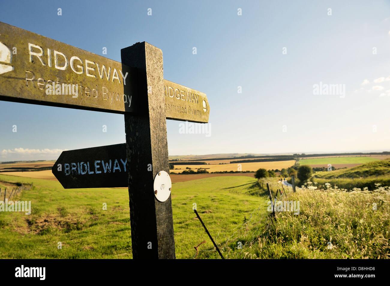 Le Ridgeway. Inscrivez-vous sur 5000 ans chemin longue distance vu entre Château et Uffington Wayland's Photo Stock