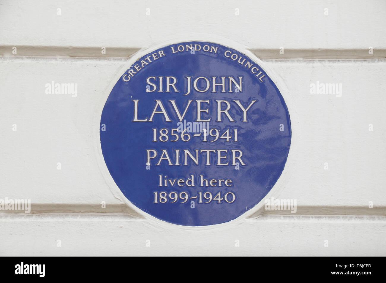 Greater London Council blue plaque pour le peintre Sir John Lavery, 5 Cromwell Place, South Kensington, London SW7, UK Banque D'Images