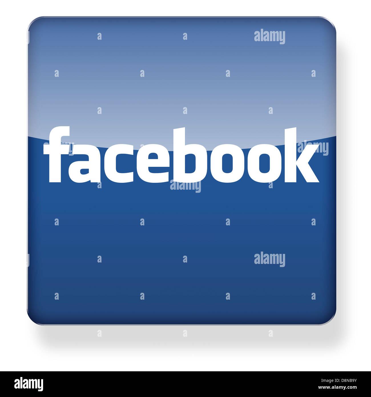 Logo de Facebook comme une icône de l'application. Chemin de détourage inclus. Photo Stock