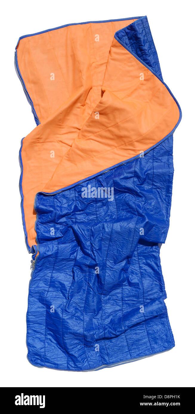 Sac de couchage bleu en désordre Photo Stock