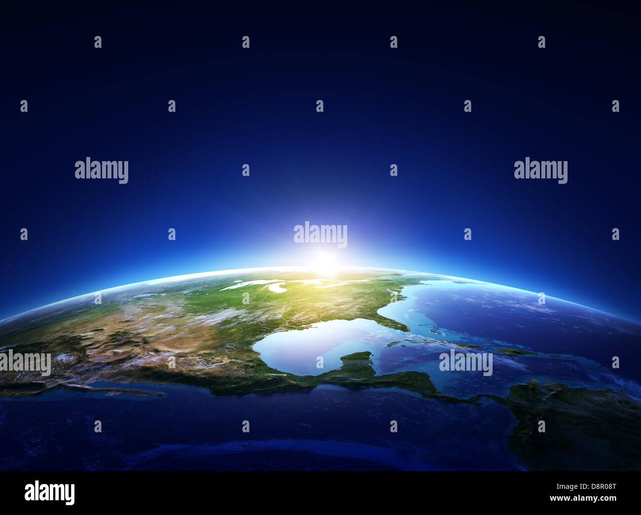 Lever de Terre en Amérique du Nord avec de légers nuages (éléments de cette image fournie par Photo Stock