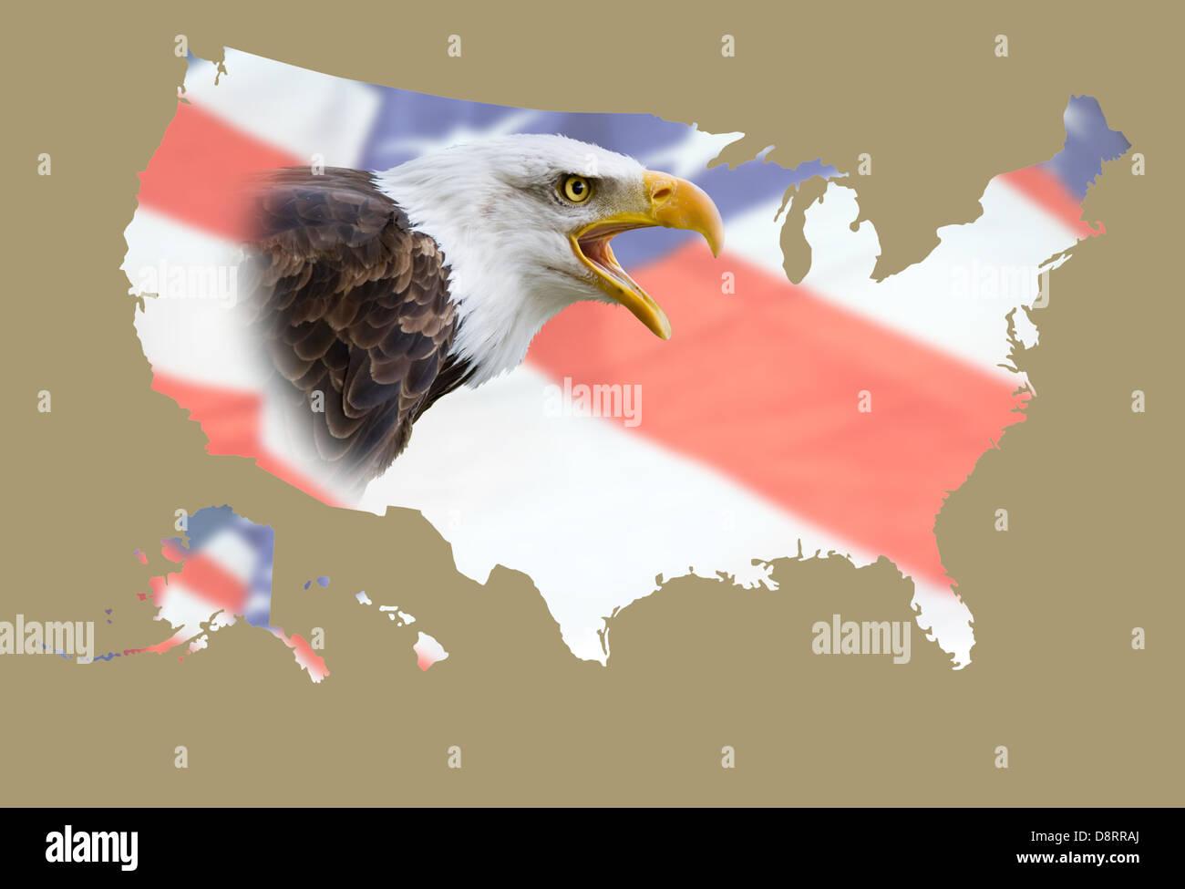 Une carte de l'arrière-plan aux Etats-Unis avec un drapeau et un aigle à tête blanche Photo Stock