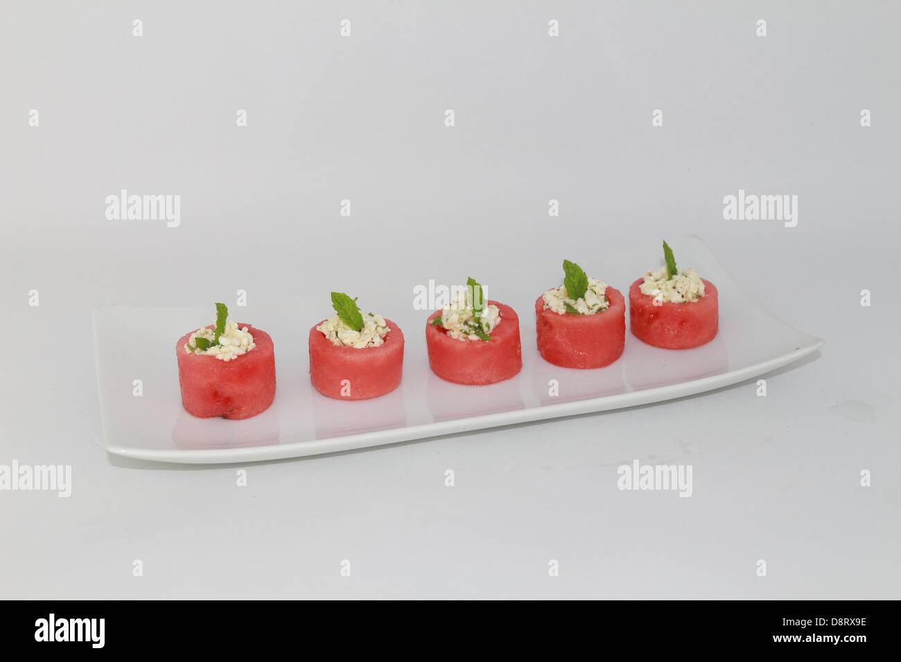 Tasses de pastèque à la feta et à la menthe Photo Stock