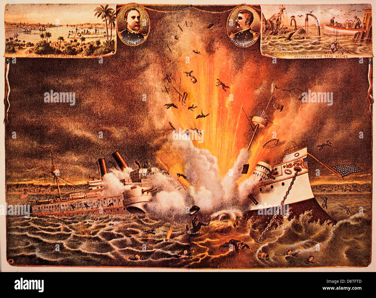 Destruction de cuirassé Maine dans le port de La Havane, 15 février, 1898 , chromolithographie, Kurz et Photo Stock