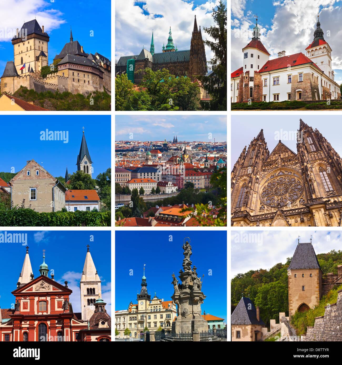 Collage d'images Praha République Tchèque Photo Stock