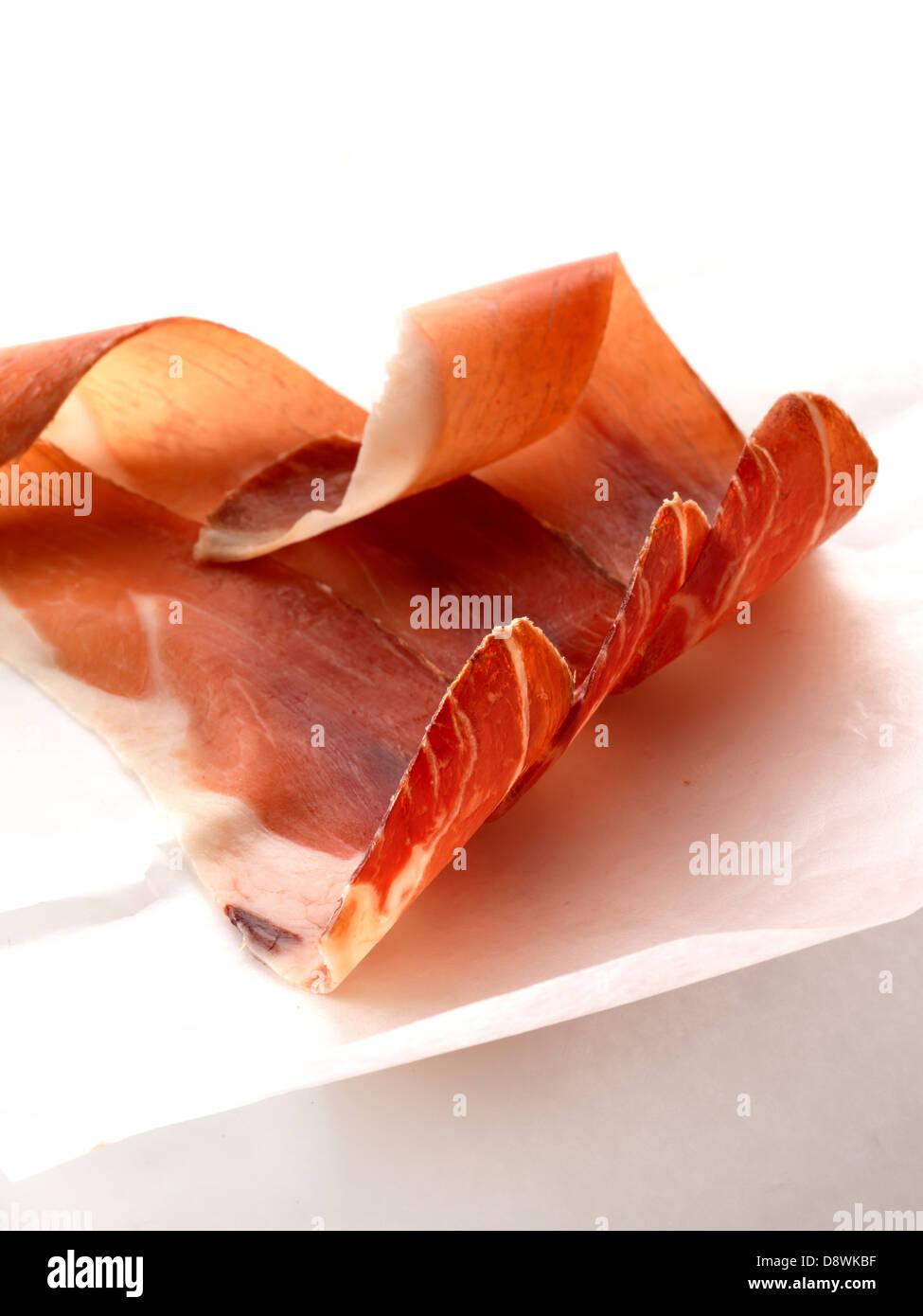 Tranches de jambon cru Photo Stock