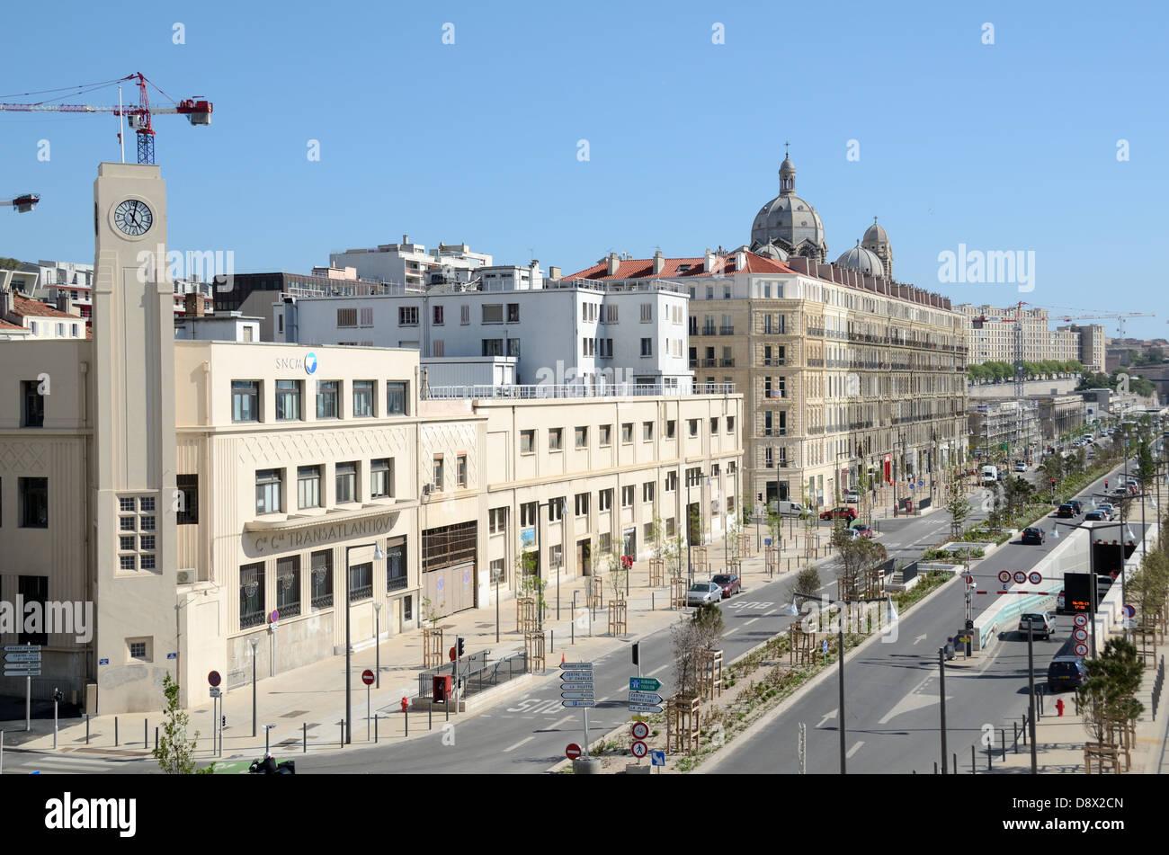 Front de mer ou Boulevard Du Littoral Quai de la Joliette Marseille France Photo Stock