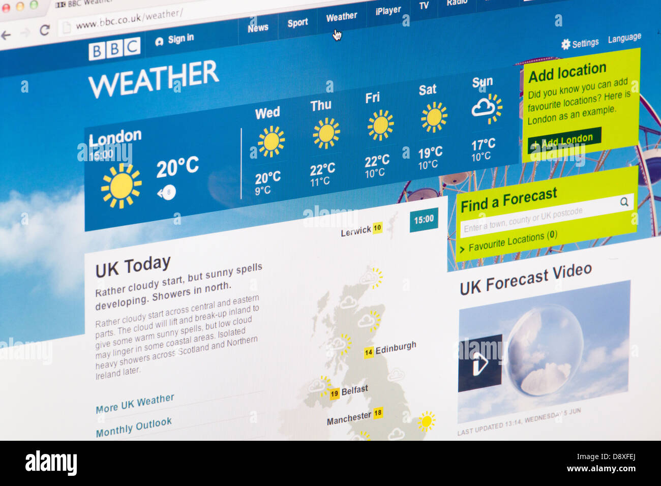 BBC Weather Home page site Web ou une page web sur un écran d'ordinateur portable ou un écran d'ordinateur Photo Stock