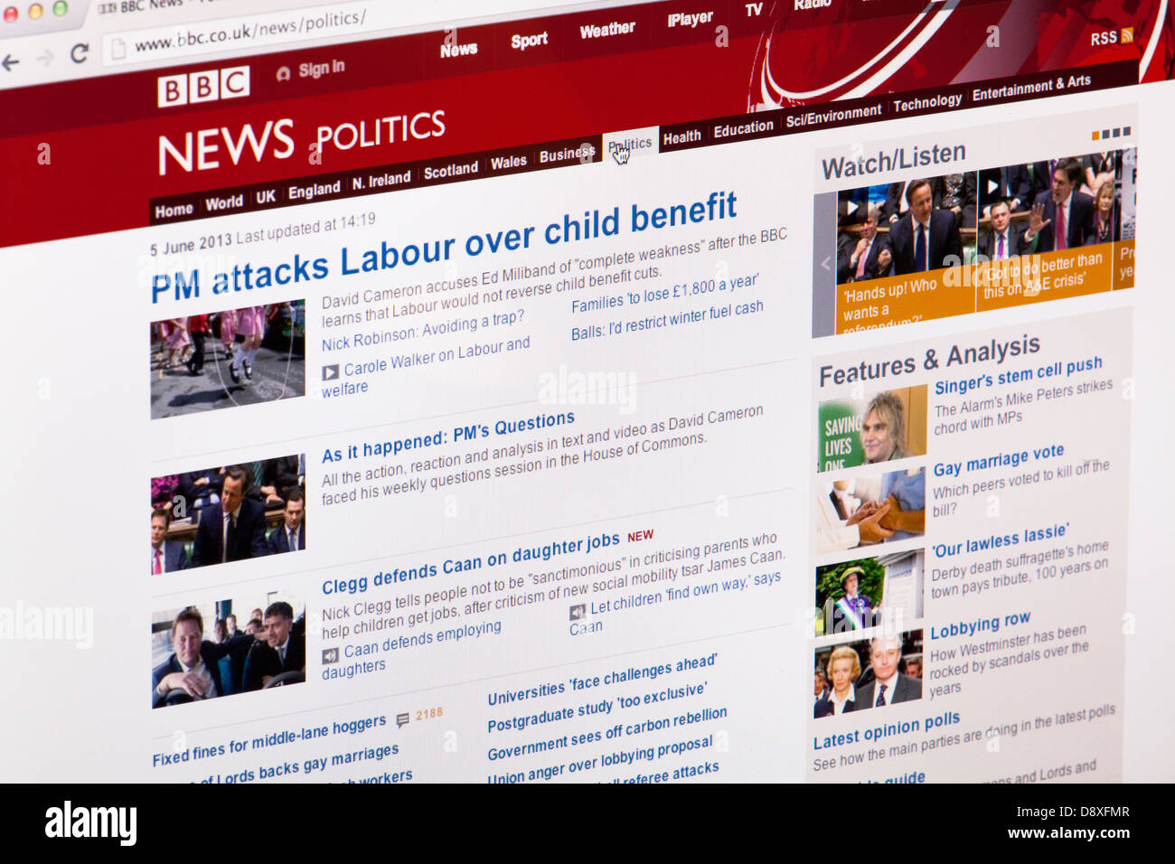 BBC News Politics Home page site Web ou une page web sur un écran d'ordinateur portable ou un écran Photo Stock