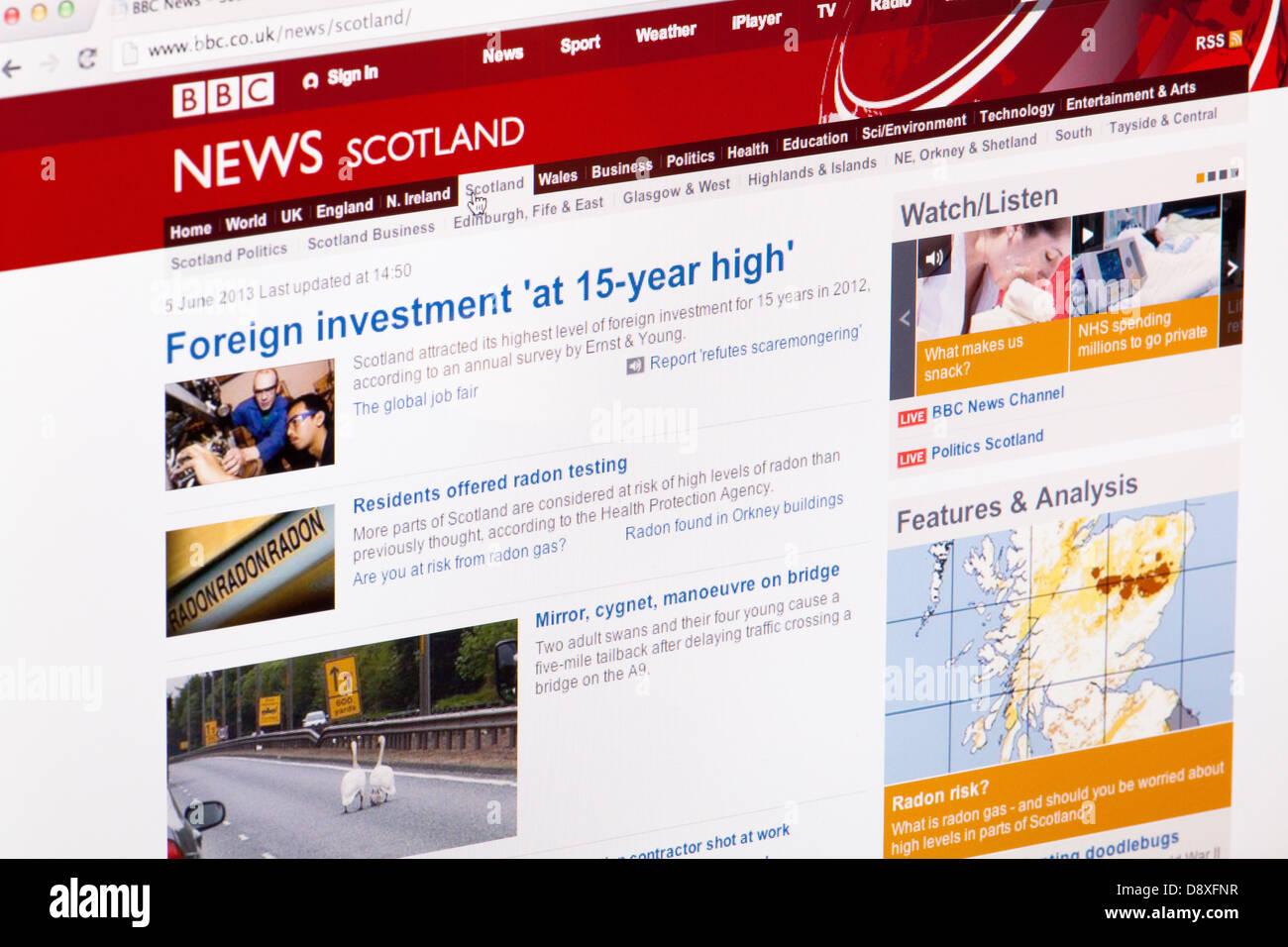 Nouvelles de BBC Scotland home page Site Web ou une page web sur un écran d'ordinateur portable ou un écran Photo Stock
