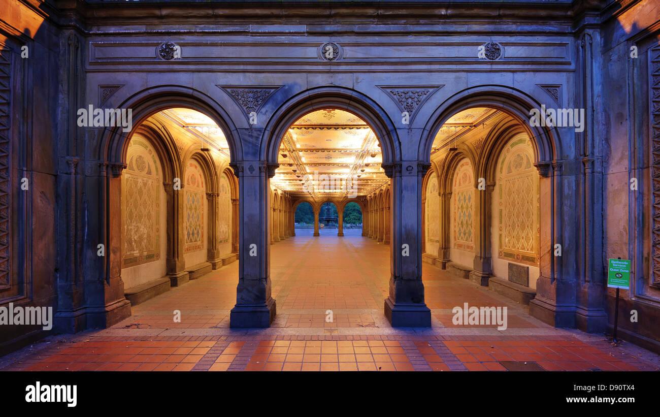 Le passage inférieur pour piétons à Bethesda Terrace, Central Park, New York City. Photo Stock