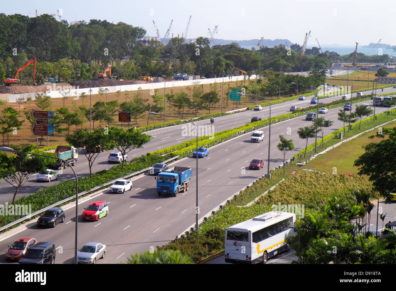 East Coast Parkway Singapour route véhicules voitures ECP Photo Stock