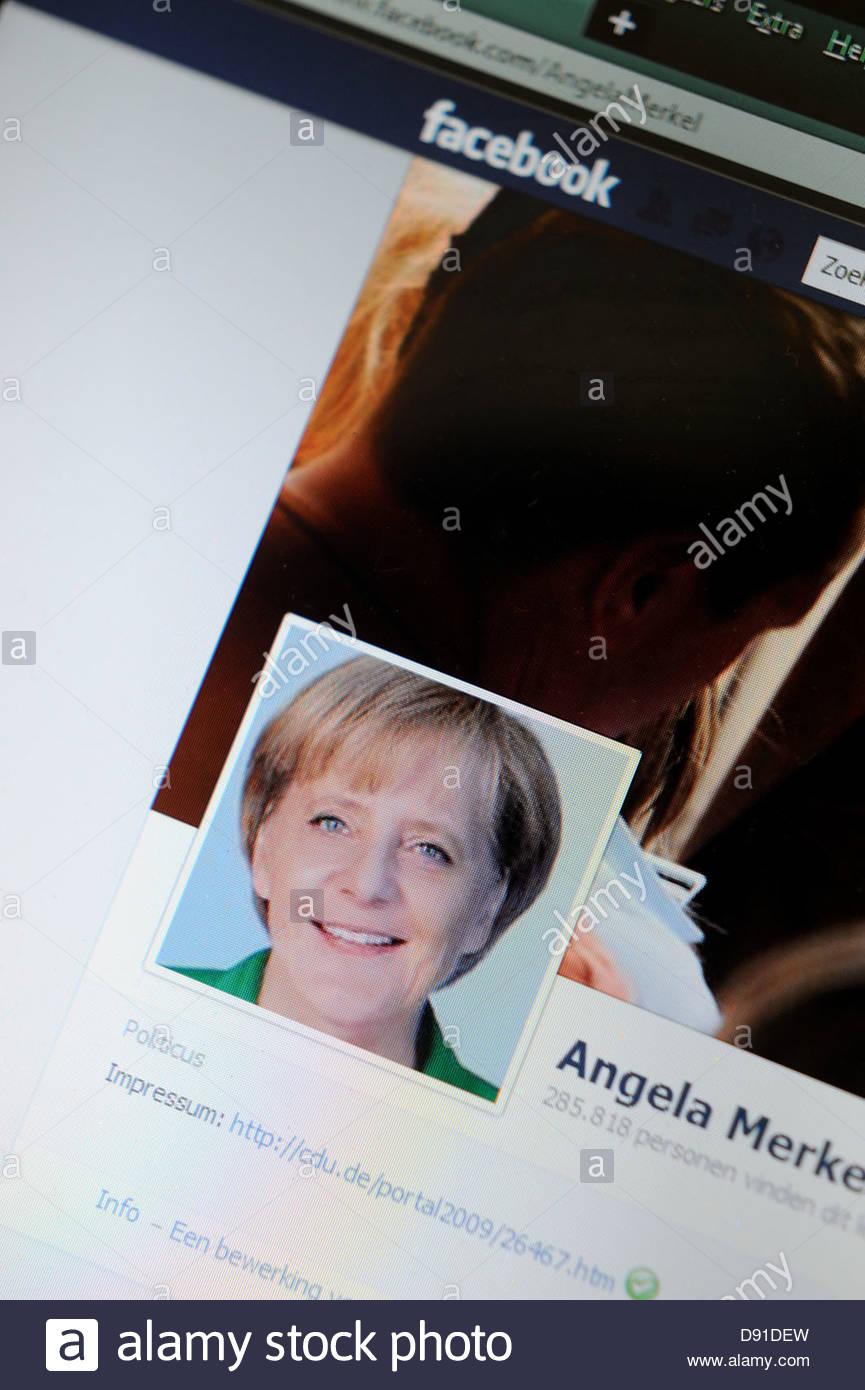 Page Facebook Internet Angela Merkel Photo Stock