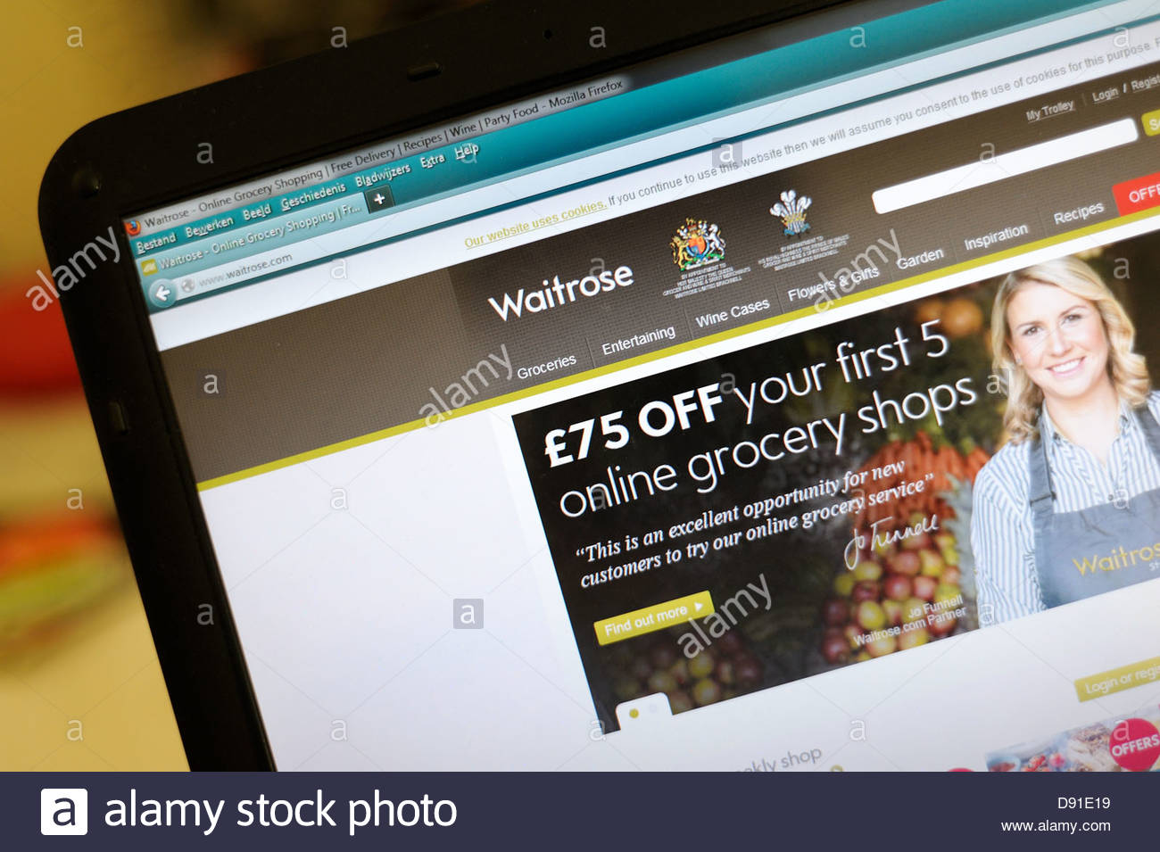 Supermarché Waitrose Internet Photo Stock