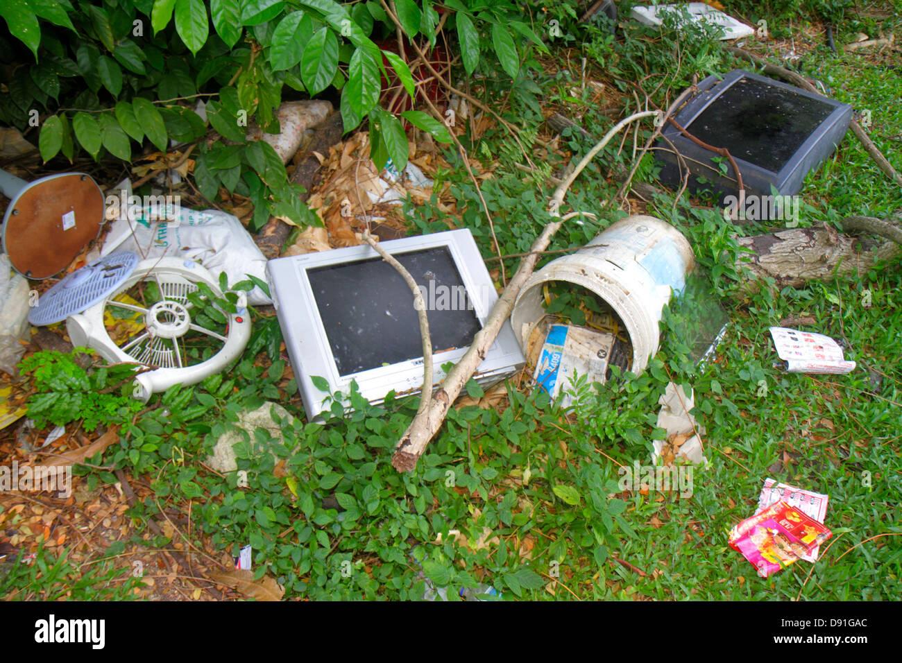 Jalan Besar Singapour pollution Déchets déchets environnement moniteur corbeille Photo Stock