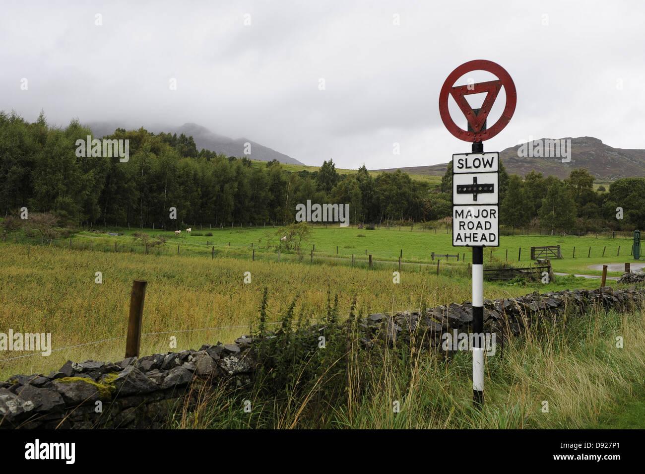 Trafic Signe, Highland Folk Museum, Newtonmore, Ecosse, Grande-Bretagne Photo Stock