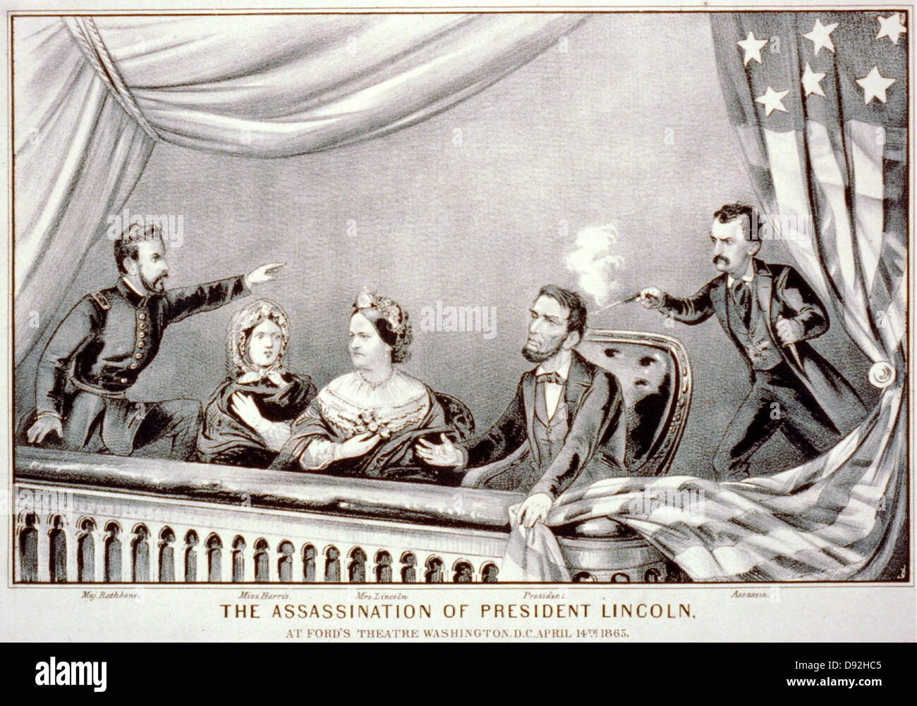 Assassinat d'Abraham Lincoln. Henry Rathbone, Clara Harris, Mary Todd Lincoln, Abraham Lincoln et John Wilkes Booth. Banque D'Images