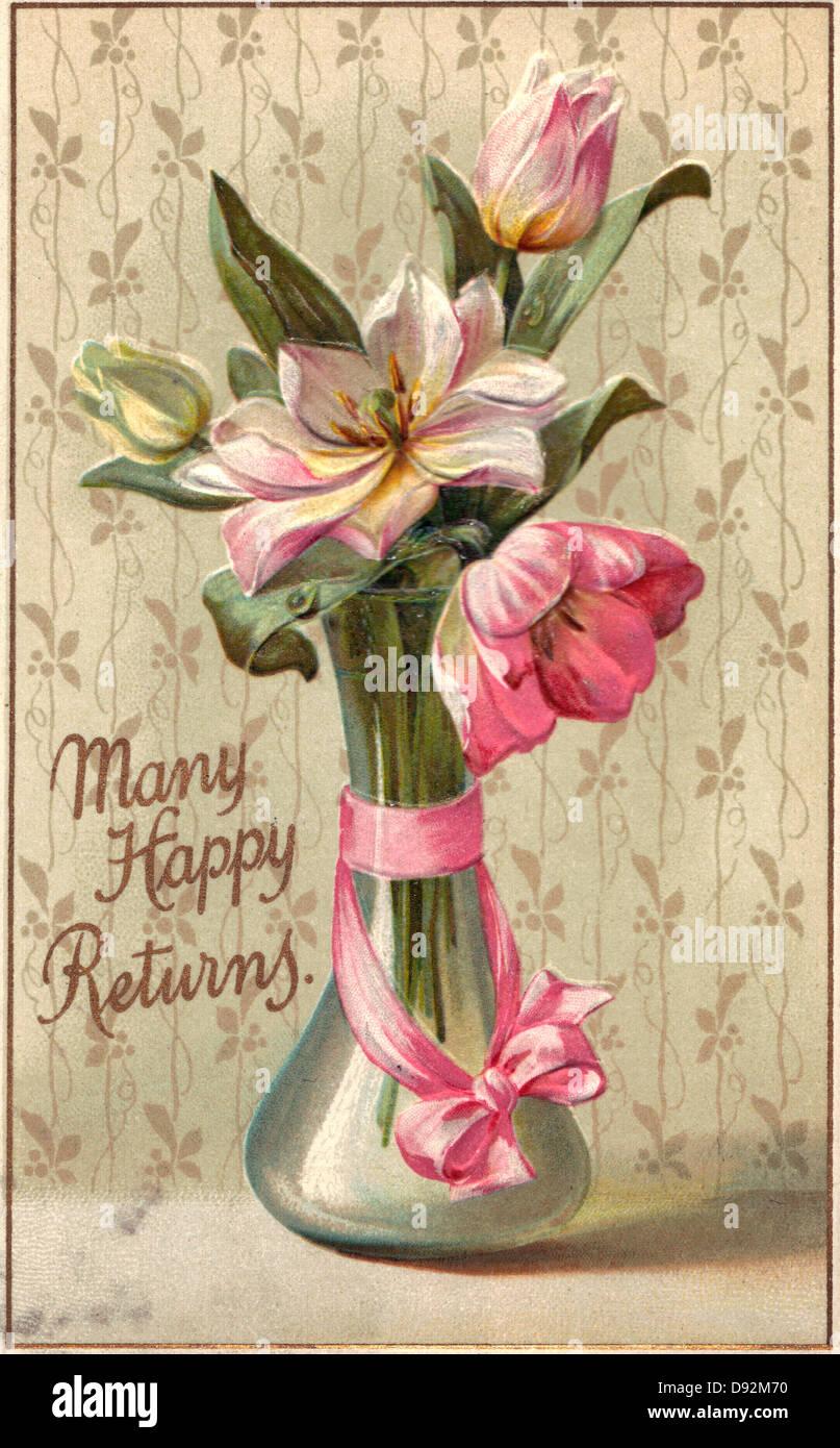 Bon Anniversaire Carte Anniversaire Vintage Avec Vase Et Fleurs