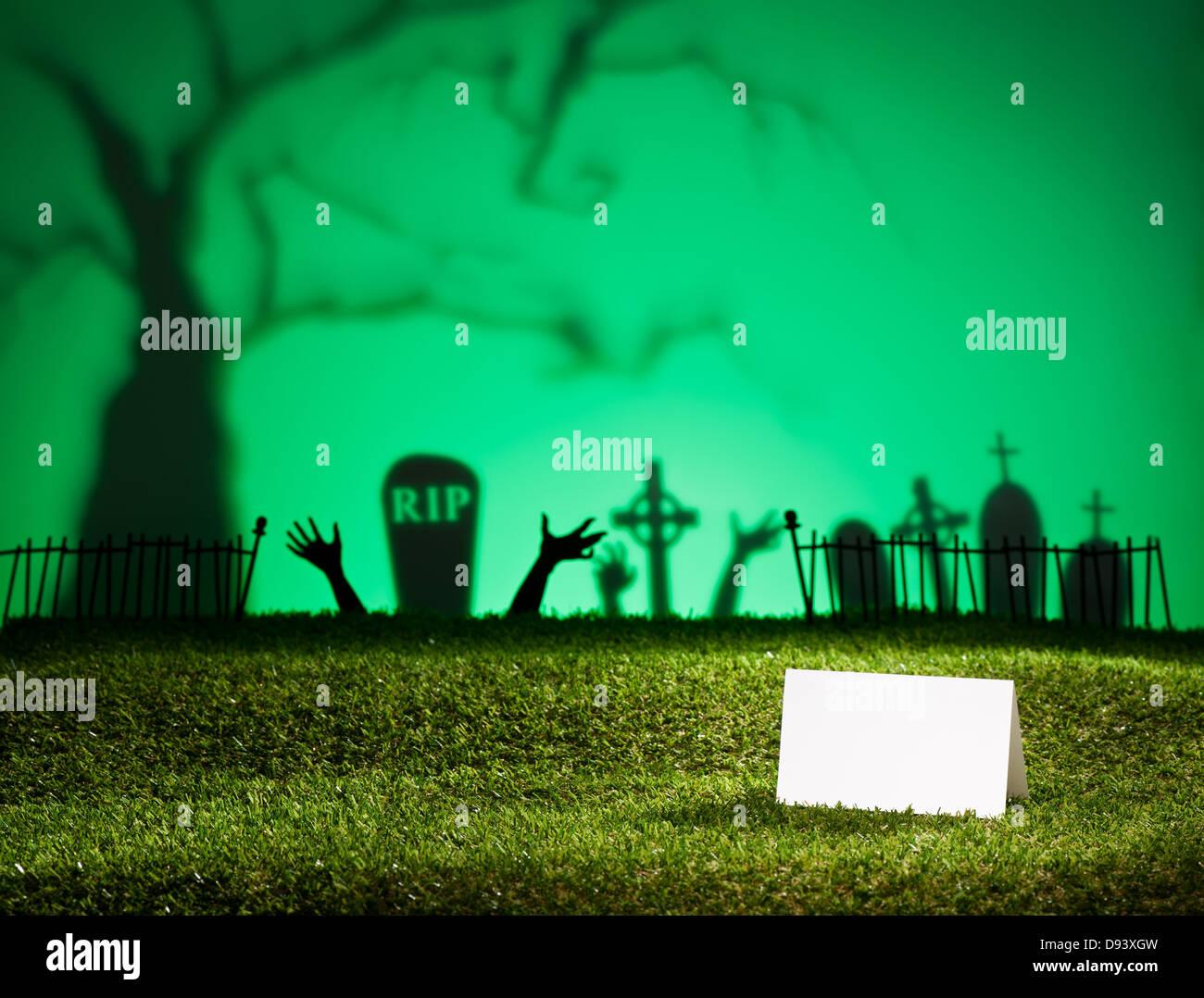 Paysage Avec Halloween Tree Cimetiere Et Carte De Visite