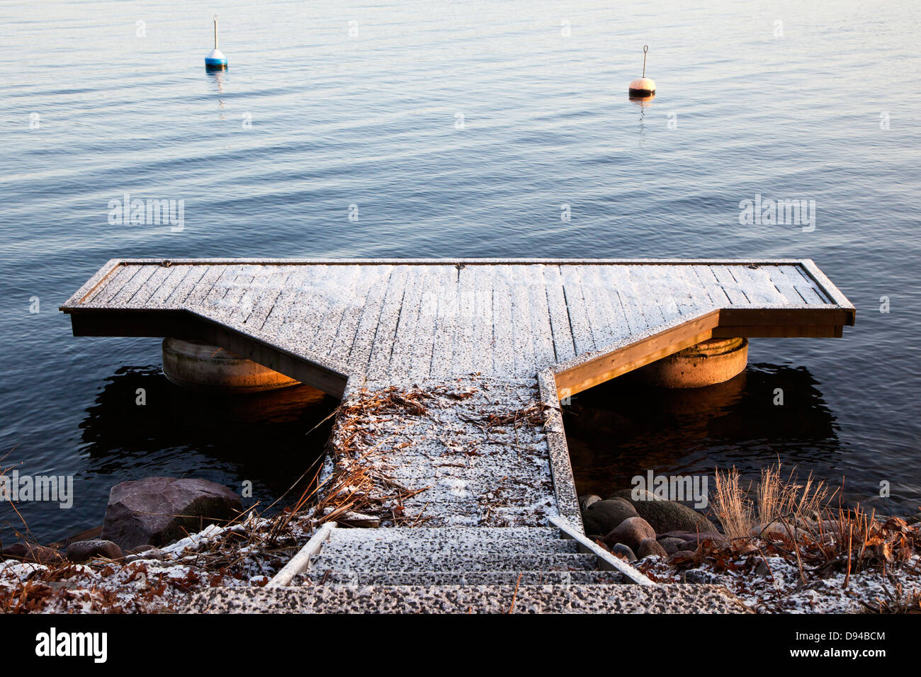 Jetty couverte de neige Photo Stock