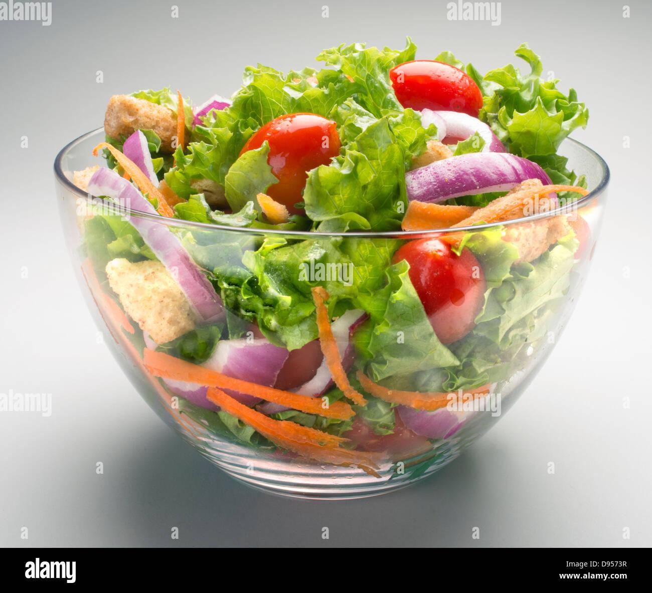 Bol à salade, légumes, dessert Photo Stock