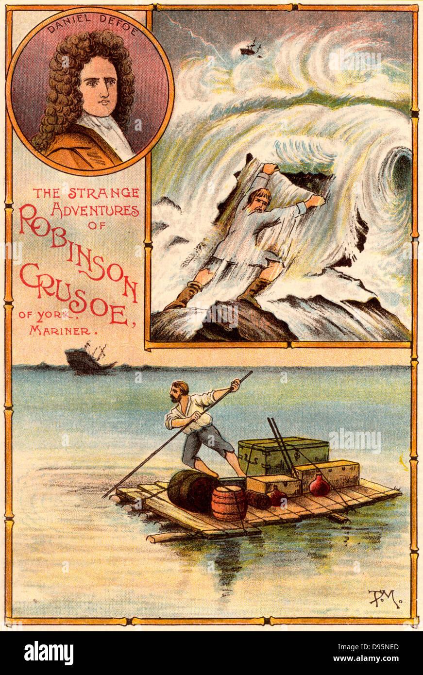 """La vie et d'étranges aventures surprenantes de Robinson Crusoé"""" de Daniel Defoe. Crusoé Photo Stock"""