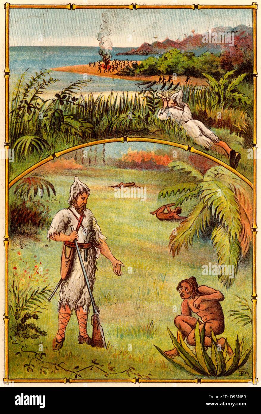 La vie et d'étranges aventures surprenantes de Robinson Crusoé de Daniel Defoe. D'abord publié Photo Stock